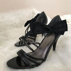 Nine West Black Strappy Heels With Bow